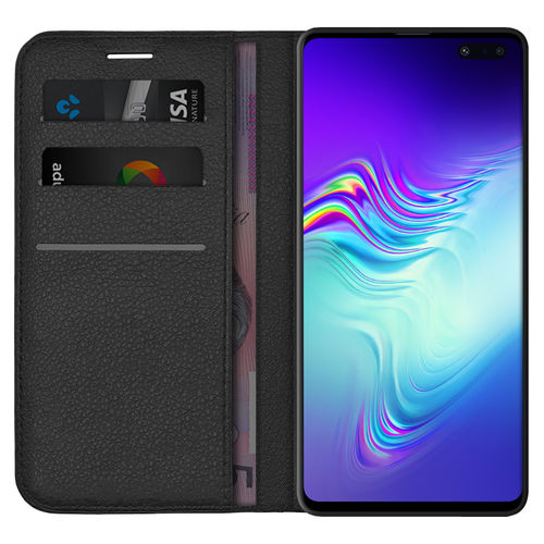Leather Wallet Case & Card Holder for Samsung Galaxy S10 5G - Black